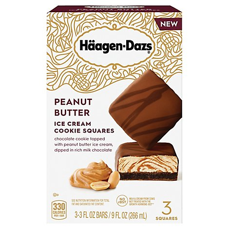 Haagen-Dazs Ice Cream Cookie Squares Peanut Butter - 3-3 Fl. Oz.