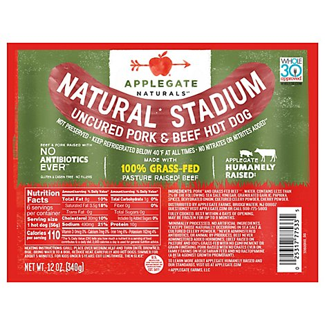 Applegate Natural Beef & Pork Stadium Hot Dog - 12 Oz