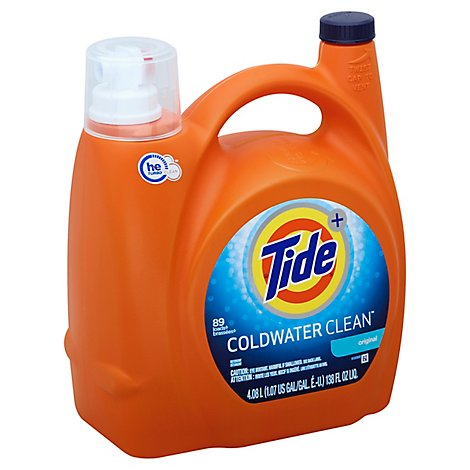 Tide Plus Laundry Detergent Liquid Coldwater Clean Original 89 Loads - 138 Fl. Oz.