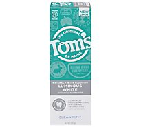 Toms of Maine Toothpaste Anticavity Fluoride Luminous White Clean Mint - 4 Oz