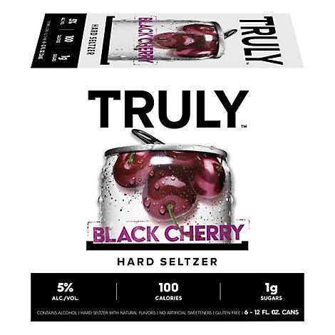 Truly Hard Seltzer Spiked & Sparkling Water Black Cherry 5% ABV Slim Cans - 6-12 Fl. Oz.