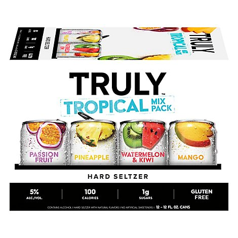 Truly Hard Seltzer Spiked & Sparkling Water Tropical Variety 5% ABV Slim Cans - 12-12 Fl. Oz.