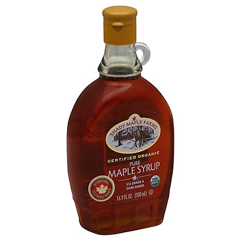 Shady Maple Farms Maple Syrup Organic Pure Dark Amber - 16.9 Fl. Oz.