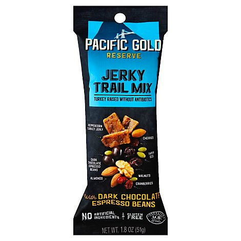 Pacific Gold Jerky Trail Mix With Dark Chocolate & Espresso Beans - 1.8 Oz