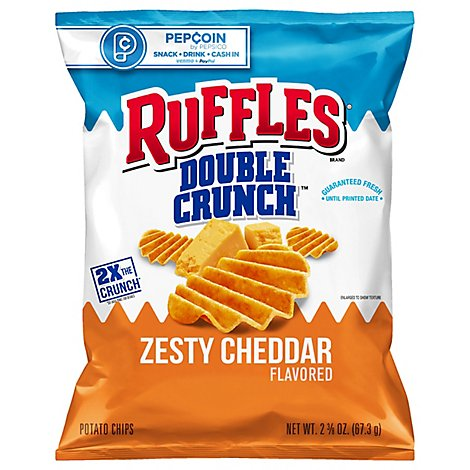 Ruffles Double Crunch Potato Chips Zesty Cheddar - 2.375 Oz
