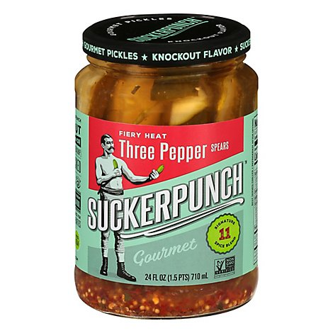 SuckerPunch Gourmet Pickles 3 Pepper Fire Spears - 24 Fl. Oz.