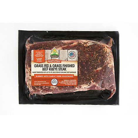 Meat Service Counter SunFed Ranch Grass Fed Beef Ribeye Steak Boneless - 1 LB