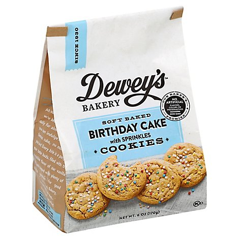 Deweys Bakery Cookies Soft Baked Birthday Cake With Sprinkles - 6 Oz