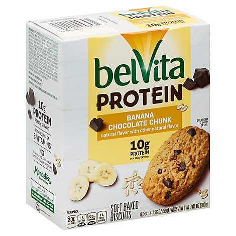belVita Biscuits Protein Soft Baked Banana Chocolate Chunk - 4-1.76 Oz