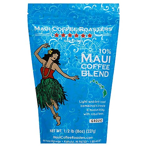 Maui Coffee Roasters Coffee Ground Light And Dark Roast 10% Maui Coffee Blend - 8 Oz
