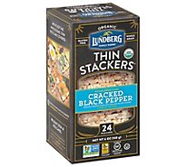 Lundberg Organic Thin Stackers Grain Cakes Puffed Cracked Black Pepper 24 Count - 6 Oz