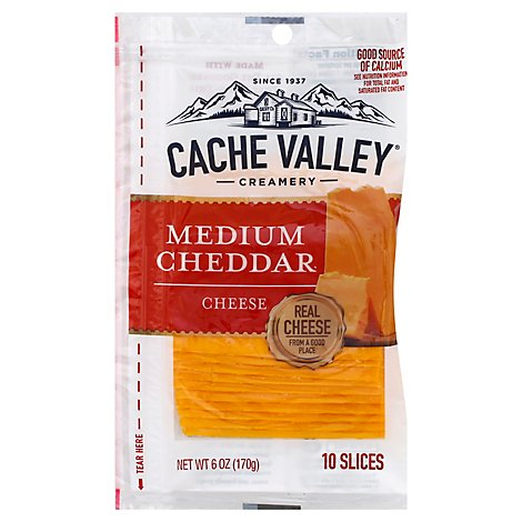 Cache Valley Cheese Slices Medium Cheddar 10 Count - 6 Oz