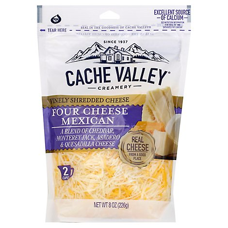 Cache Valley Cheese Finely Shredded Four Cheese Mexican - 8 Oz