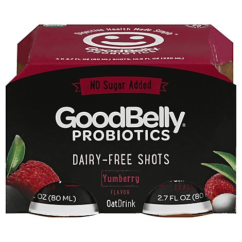 GoodBelly Oat Drink Probiotics No Sugar Added Yumberry - 4-2.7 Fl. Oz.