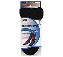 +MD Socks Compression Over the Calf Ribbed Cushion Unisex Medium Black - Each
