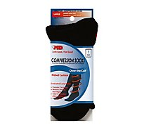 +MD Socks Compression Over the Calf Ribbed Cushion Unisex Large Black - Each