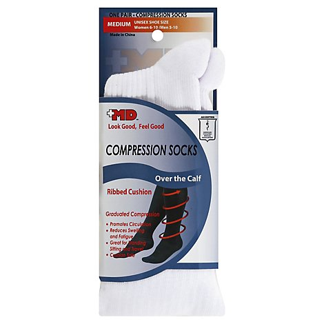 +MD Socks Compression Over the Calf Ribbed Cushion Unisex Medium White - Each