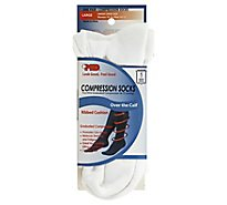 +MD Socks Compression Over the Calf Ribbed Cushion Unisex Large White - Each