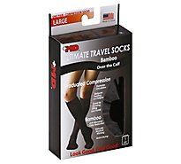+MD Socks Ultimate Travel Bamboo Graduated Compression Over the Calf Large Black - Each