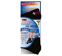 +MD Socks Unisex Dri Relief Gel Heels Mini Crew One Size Fits Most Black - Each