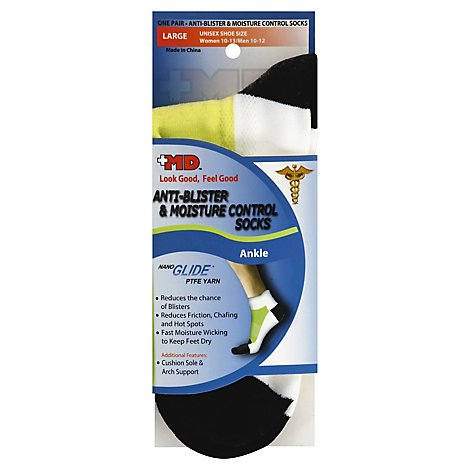 +MD Socks Unisex Anti Blister & Moisture Control Ankle Large - Each