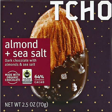 TCHO Dark Chocolate With Almonds & Sea Salt 64% Cacao - 2.5 Oz