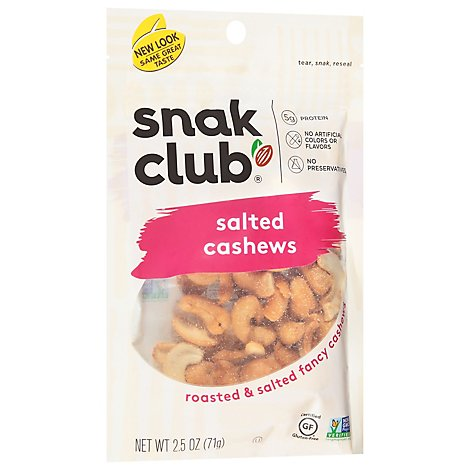 Snak Club Cashews Salted - 2.5 Oz