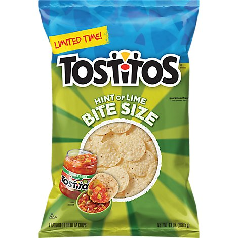 Tostitos Hint Of Lime Bite Size - 13 Oz