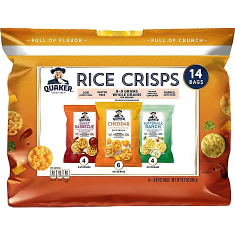Quaker Rice Crisps Popped Gluten Free Variety Pack - 14-0.67 Oz