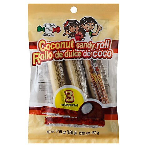 Mi Dulce Mexico Candy Roll Coconut 3 Count - 5.29 Oz