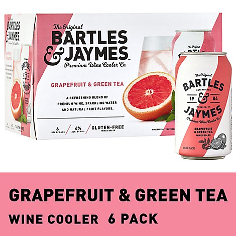 Bartles and Jaymes Grapefruit & Green Tee Wine Cooler Cans - 6-355 Ml