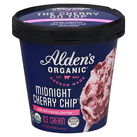 Aldens Organic Ice Cream Midnight Cherry Chip - 14 Fl. Oz.