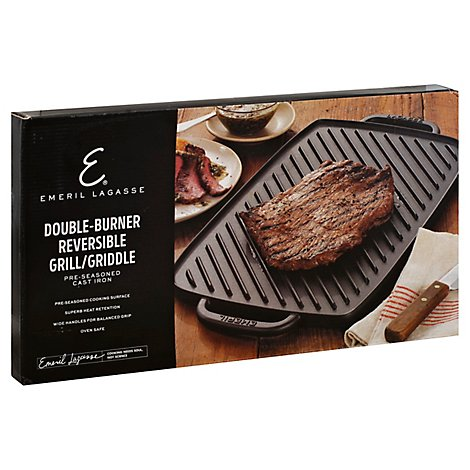 Emeril Grill/Griddle Double Burner Reversible Pre Seasoned Cast Iron - Each