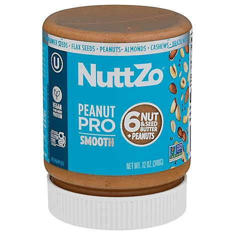 NuttZo Multi Nut And Seed Butter Peanut Pro Smooth - 12 Oz