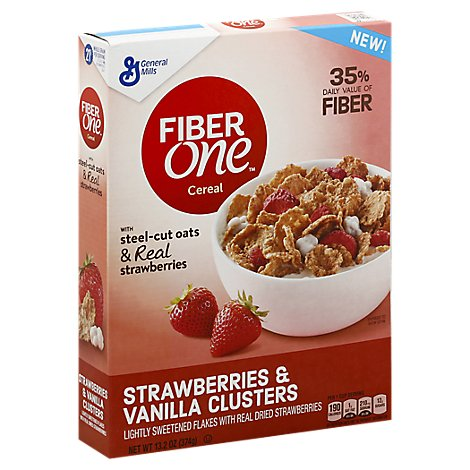 Fiber One Cereal Strawberries & Vanilla Clusters - 13.2 Oz