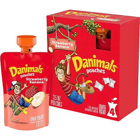 Danimals Pouches Yogurt Lowfat Strawberry Banana - 4-3.5 Oz