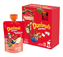 Danimals Squeezables Yogurt Lowfat Strawberry Banana Split - 4-4 Oz