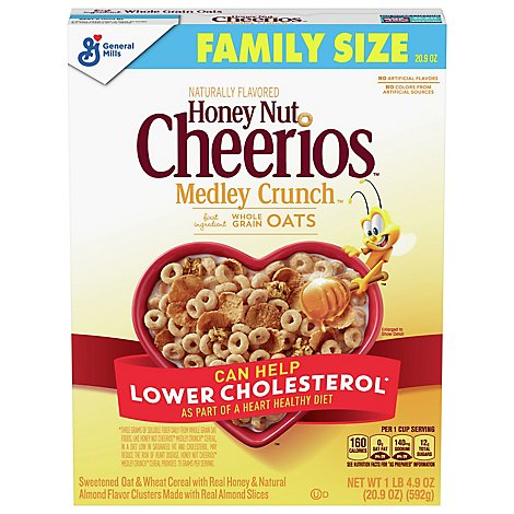 Cheerios Cereal Whole Grain Oats Honey Nut Medley Crunch Family Size - 20.9 Oz