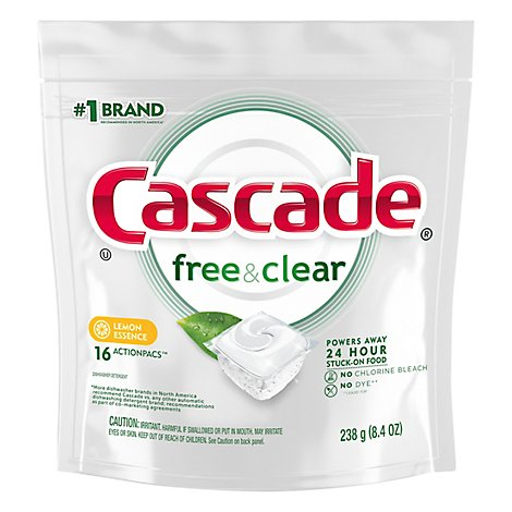 Cascade Free & Clear Dishwasher Detergent ActionPacs Lemon Essence - 16 Count