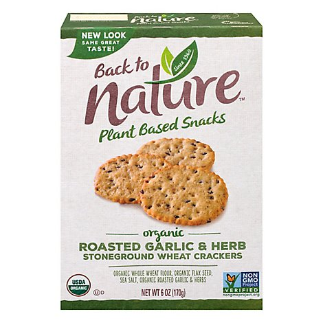 back to NATURE Crackers Organic Stoneground Wheat Roasted Garlic & Herb - 6 Oz