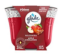 Glade 3-Wick Candle Apple Cinnamon Fills Room With Essential Oil Infused Fragrance 6.8 oz