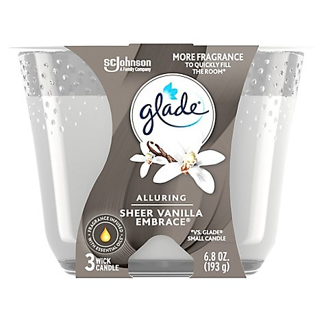 Glade 3-Wick Candle Sheer Vanilla Embrace Fills Room With Essential Oil Infused Fragrance 6.8 oz