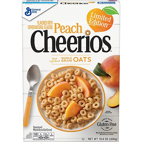 Cheerios Cereal Whole Grain Oats Limited Edition Peach - 10.8 Oz