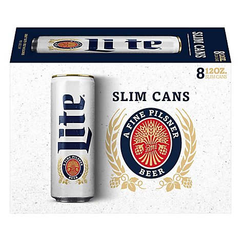 Miller Lite Beer Pilsner Light 4.2% ABV Cans - 8 - 12 Fl. Oz.