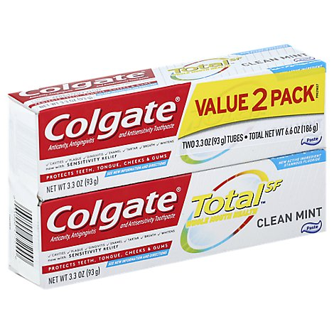 Colgate Total Clean Mint Toothpaste Twin Pack - 2-3.3 Oz