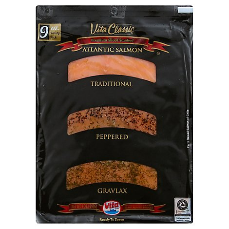 Vita Salmon Atlantic Premium Sliced Smoked Variety Pack - 9 Oz