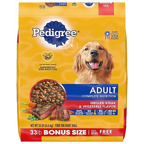Pedigree Dog Food Dry For Adult Complete Nutrition Grilled Steak & Vegetable - 33 Lb