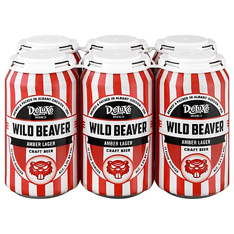 Deluxe Brewing Wild Beaver Amber Lager 6/12  In Cans - 6-12 Fl. Oz.