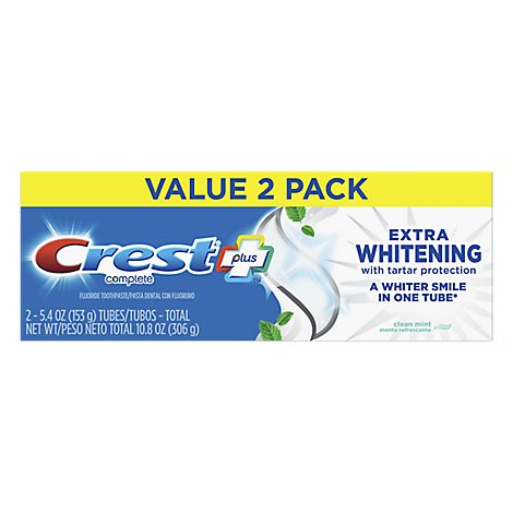 Crest Complete Plus Toothpaste Extra Whitening With Tartar Protection Clean Mint - 2-5.4 Oz