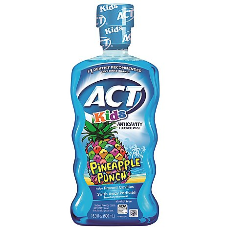 ACT Kids Fluoride Rinse Anticavity Pineapple Punch - 16.9 Fl. Oz.